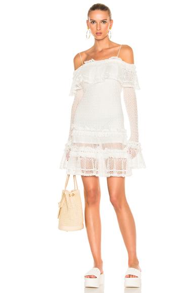 Ruffle Crochet Long Sleeve Mini Dress