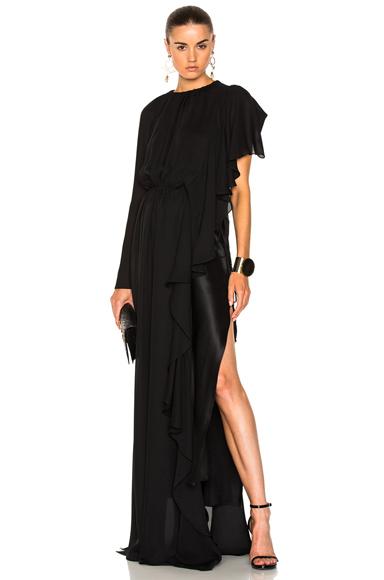 Asymmetrical Gathered Ruffle Gown