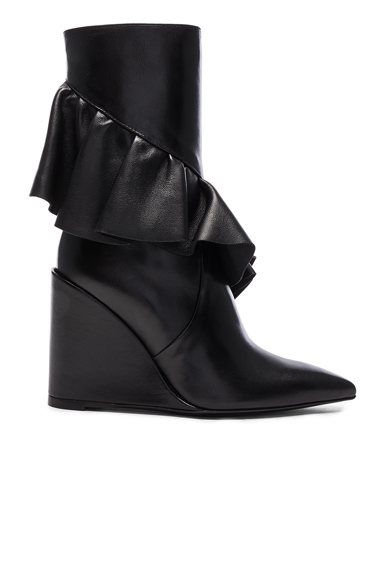 Mid Calf Leather Ruffle Boots