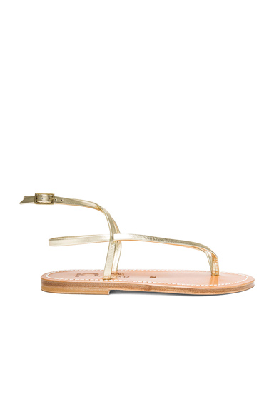 Delta Metallic Leather Ankle Strap Sandals
