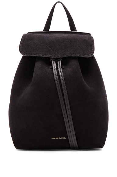 Mini Backpack in Black Suede