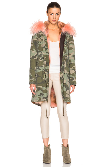 Midi Army Parka Jacket with Coyote Fur