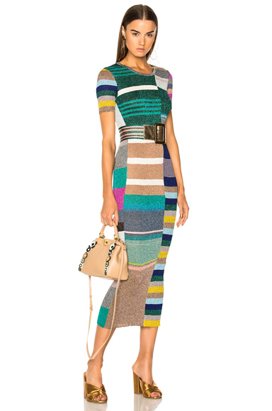 Short Sleeve Printed Knit Maxi Dress