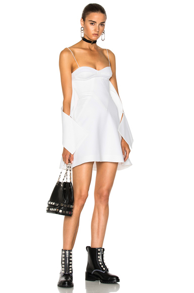 Crepe Flounce Mini Dress