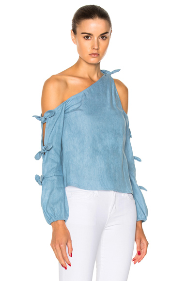 Chambray Knot One Shoulder Top