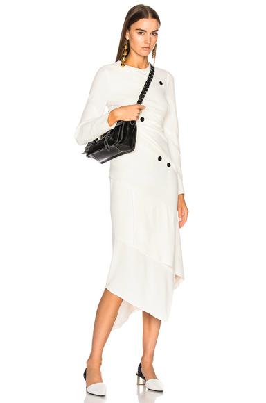 Satin Sable Long Sleeve Spiral Midi Dress