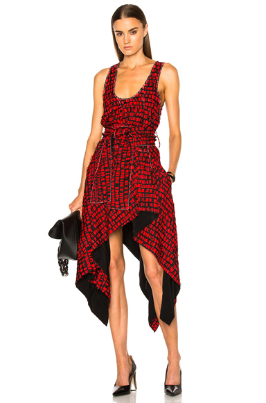 Printed Fil Coupe Waist Tie Dress