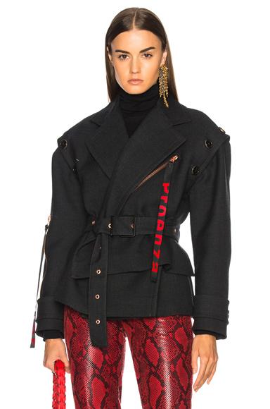 Twill Asymmetric Waisted Short Coat