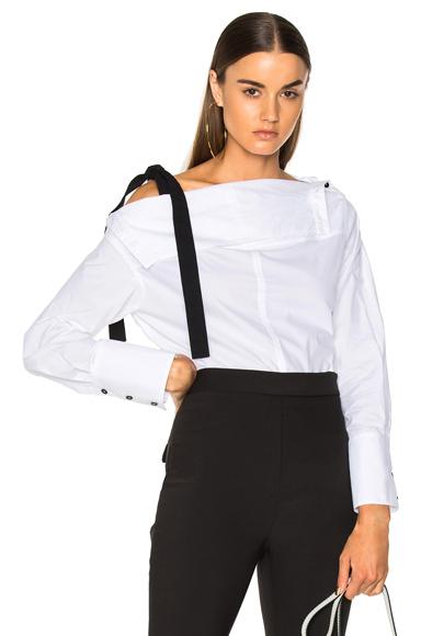 Cotton Poplin Long Sleeve Off Shoulder Top