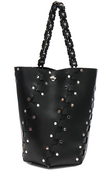 Medium Studded Hex Leather Bucket Bag