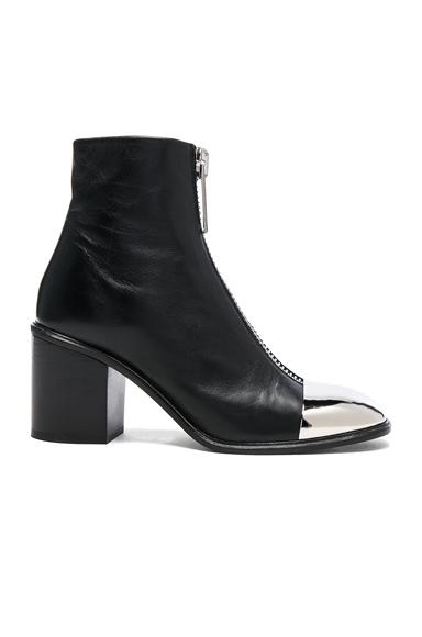 Metal Cap Toe Zip Front Boots