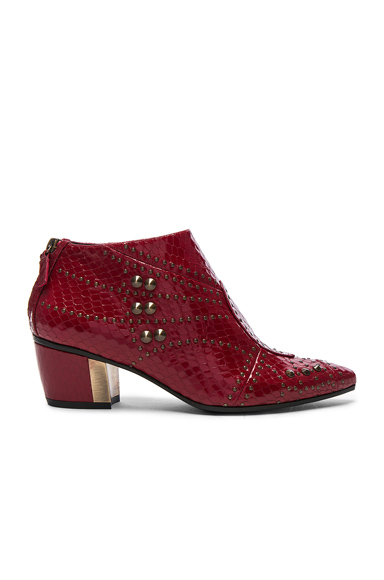 Embossed Studded Leather Booties