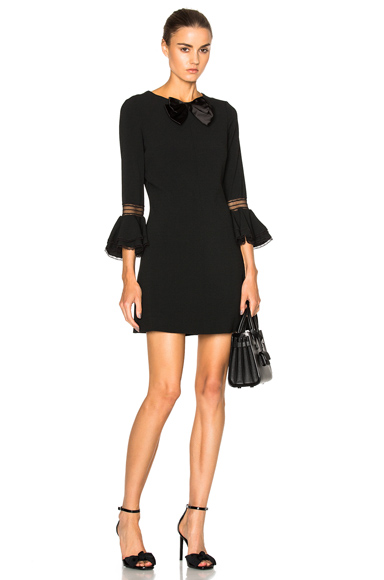 Sable Bell Sleeve Dress with Bow