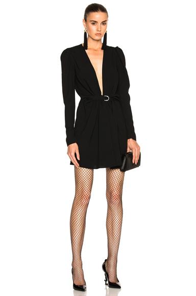 Plunging Long Sleeve Mini Dress