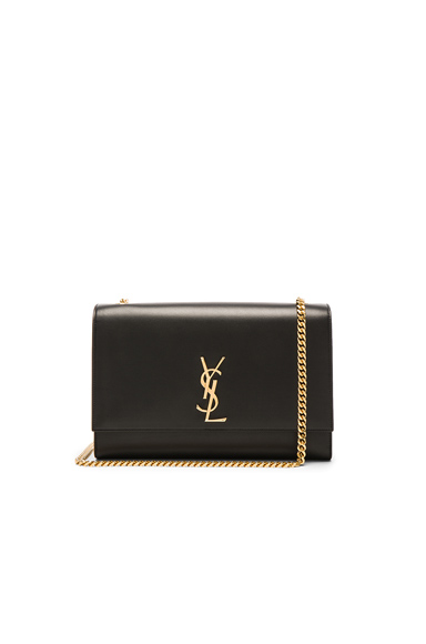 Large Boston Laquer Monogramme Kate Chain Bag in Black