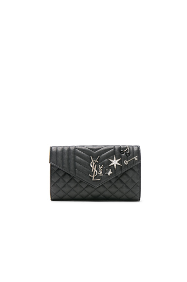 Embellished Monogramme Envelope Chain Wallet