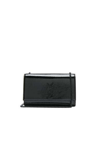 Medium Patent Monogramme Kate Chain Bag in Black