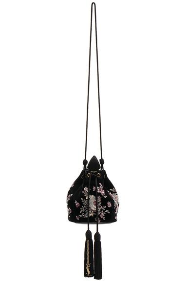 Small Velvet Embroidered Anja Bucket Bag