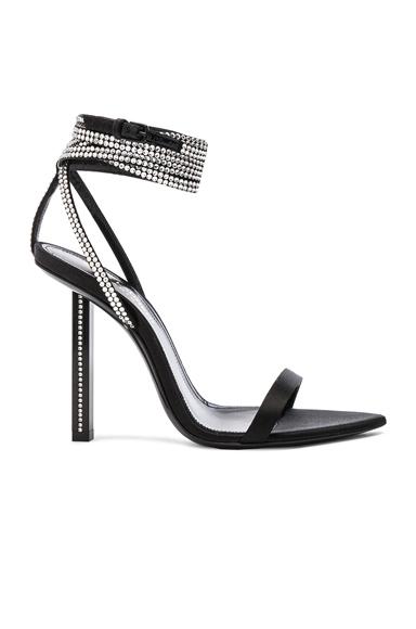 Tower Crystal Embellished Satin Ankle Strap Sandals