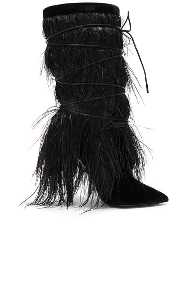 Era Feather Embellished Velvet Yeti Boots