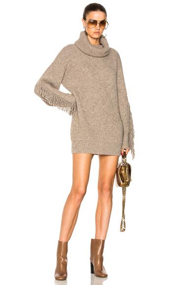 Fringe Sleeve Turtleneck Sweater