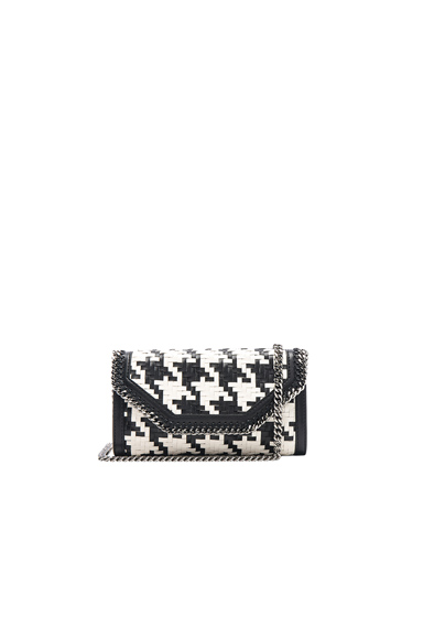 Falabella Box Eco Alter Houndstooth Weave Clutch