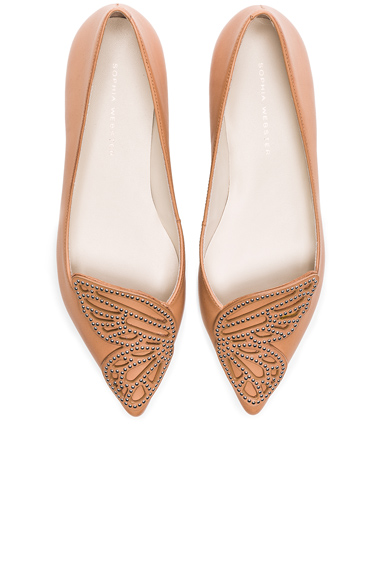 Leather Bibi Stud Butterfly Flats