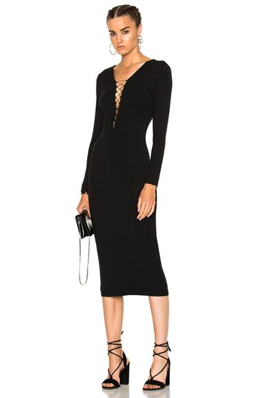 Micro Modal Spandex Lace Up Midi Long Sleeve Dress