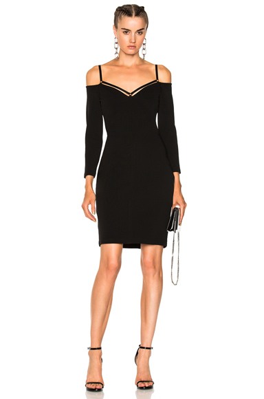Stretch Faille Strappy Cold Shoulder Long Sleeve Dress