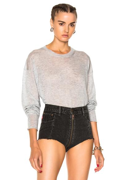 Gauze Cashmere Nylon Knit Oversized Crew Pullover