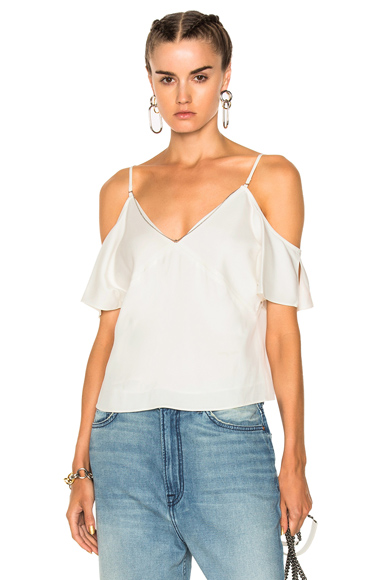 Stretch Viscose Crepe Cold Shoulder Top with Chain