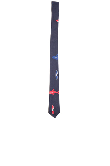 Shark & Surfboard Silk Tie