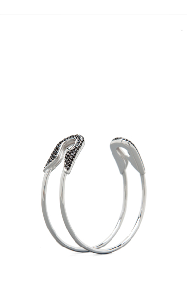 Bejeweled Safety Pin Plated Cuff
