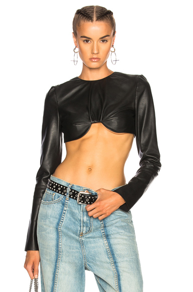 Cropped Long Sleeve Leather Top