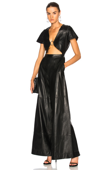 for FWRD Leather Cut-Out Jumpsuit