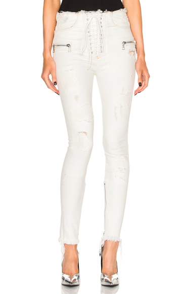 Lace Front Skinny Pants