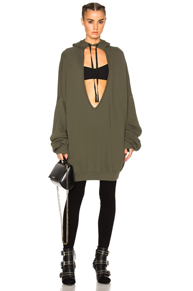 Terry V Neck Hoodie