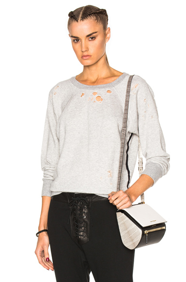 Shredded Raglan Crewneck Sweatshirt