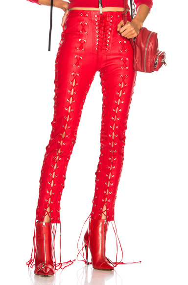 Leather All Over Lace Up Skinny Pants