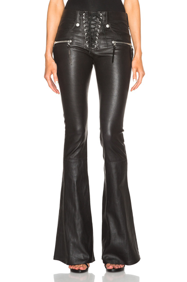 Lace Front Flare Leather Pants