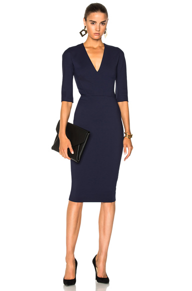 Microbrush Cotton Mid Sleeve V Neck Fitted Dress