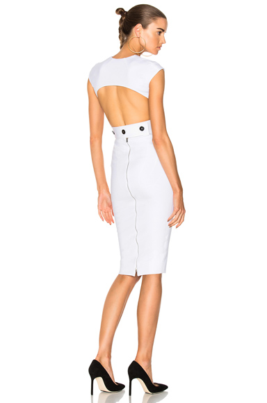 Dense Rib Jersey Open Back Fitted Dress