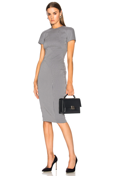 Graphic Houndstooth Paneled Fitted Midi Dress