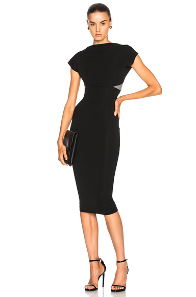 Dense Rib Backless Fitted Midi Dress
