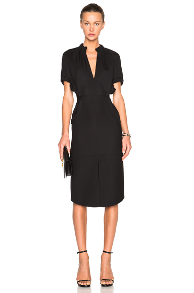 Compact Microtwill Ruched Dress