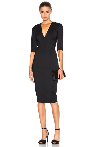 Microbrush Short Sleeve Fitted Dress