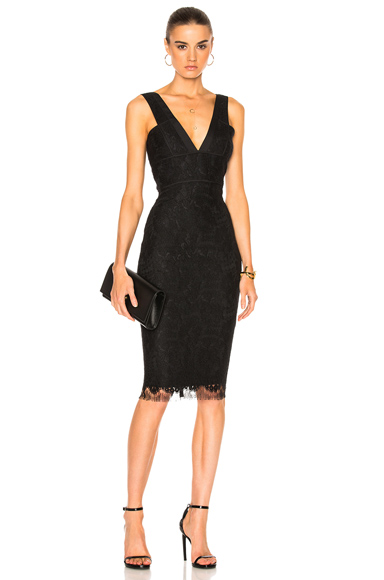 Floral Lace V Neck Fitted Dress