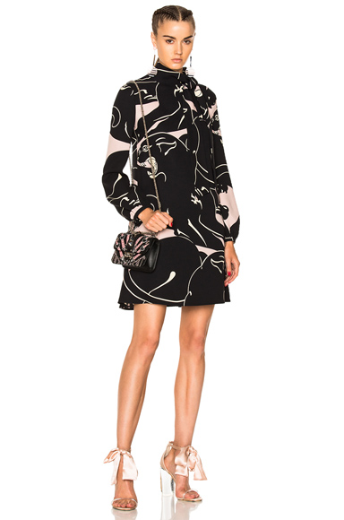 Printed Long Sleeve Mini Dress