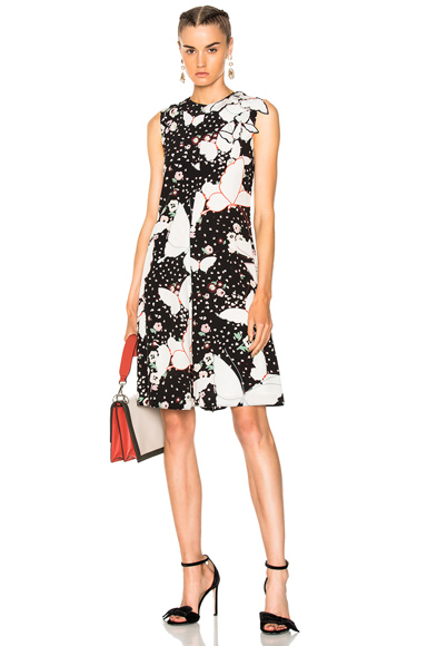 Butterfly Print Crepe de Chine Sleeveless Dress
