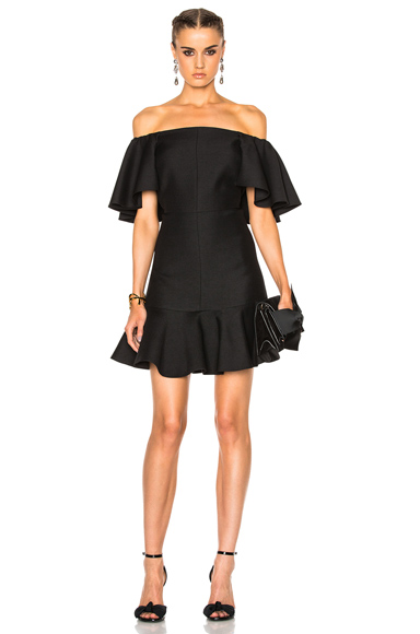 Crepe Couture Off The Shoulder Dress